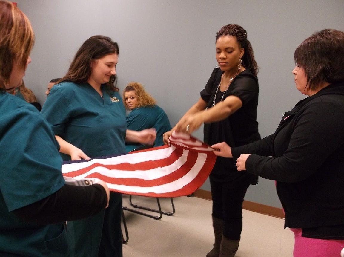 Folding a US flag