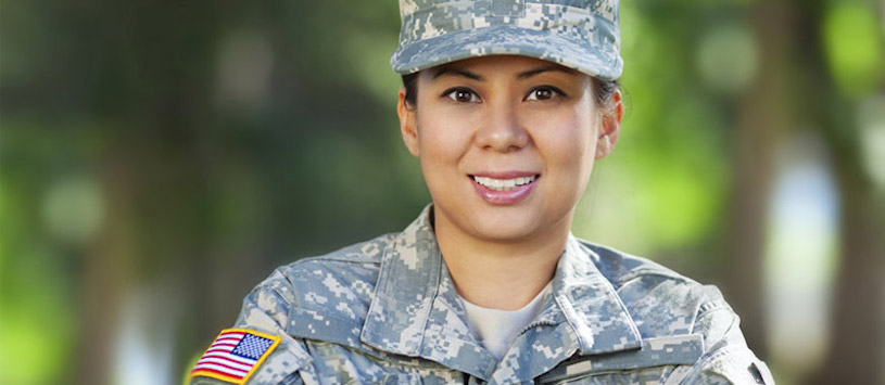Smiling female veteran.